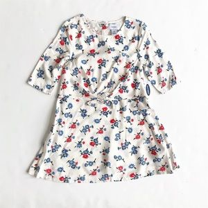 Old Navy NWT red/blue floral front tie dress 4T